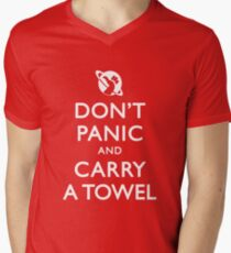 Don't Panic and Carry a Towel Men's V-Neck T-Shirt