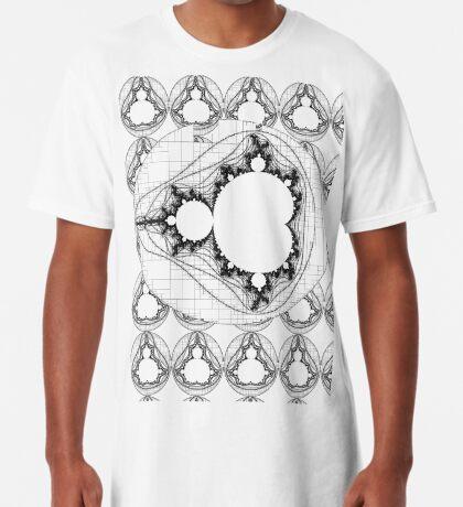 Black - Linear Mandelbrot  Long T-Shirt