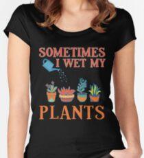Sometimes I Wet My Plants Funny Gardener Gift Pun Women's Fitted Scoop T-Shirt