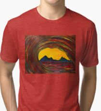 Cool Wave Finger Painted Matt Kinnaman MKinnamanArt MKART Tri-blend T-Shirt