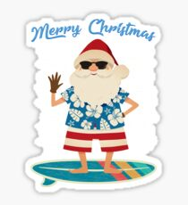 Retro Santa Claus Surfing Hawaiin Summer Christmas Sticker