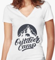 Outdoor Camp Women's Fitted V-Neck T-Shirt