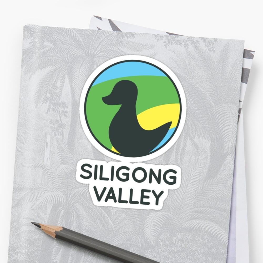 Siligong Valley logo w/text black Sticker