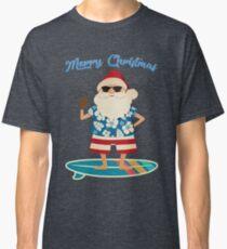 Retro Santa Claus Surfing Hawaiin Summer Christmas Classic T-Shirt