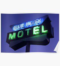 Blue Haven Motel Sign Poster