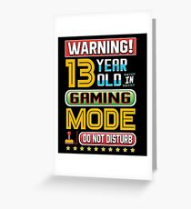 Funny 13th Gamer Birthday 13 Year Old Gaming Gifts Greeting Card