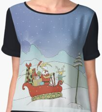 Santabird Tracking Through the Snow with Rudolph Chiffon Top