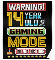 Funny 14th Gamer Birthday Boy Girl Teen Gaming Gifts Poster