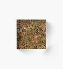 Watercolor .Black brown floral pattern .  Acrylic Block