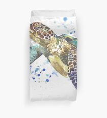 Blue & Green Sea Turtle Pastel Watercolor Painting Duvet Cover