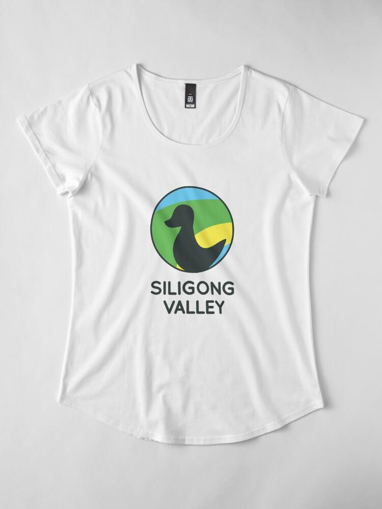 Alternate view of Siligong Valley logo w/text black Premium Scoop T-Shirt