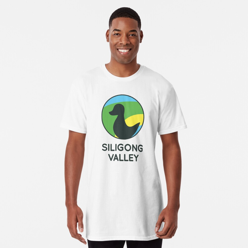 Siligong Valley logo w/text black Long T-Shirt