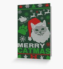 Merry Catmas Ugly Christmas Greeting Card