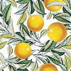 Lemon and Leaf Pattern VI by Burcu Korkmazyurek