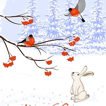 Bullfinch on a Rowan and White Hare by TpuPyku
