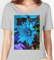 Still Life with a Blue Flower and Rainbow Flowers Women's Relaxed Fit T-Shirt