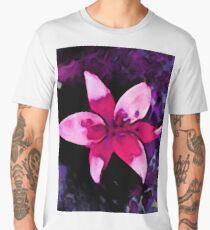 Still Life with a Pink Lily and a Purple Floor Men's Premium T-Shirt