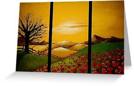Yellow Sunset over Poppy Field by Cherie Roe Dirksen