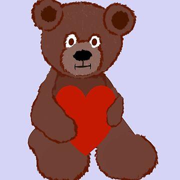 Teddy Has a Heart by PharrisArt