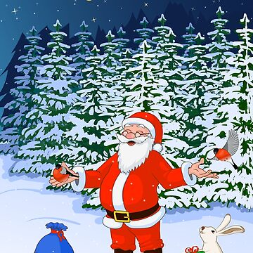 Santa Claus in forest with bullfinch and hare by TpuPyku