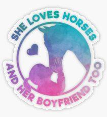 Horsebackriding Girl Loves Her Pony Boyfriend Gift Transparenter Sticker