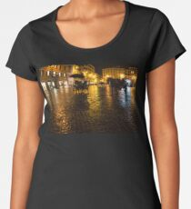 Golden Glow - Night on the Spanish Steps Piazza in Rome, Italy Women's Premium T-Shirt