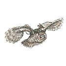Mother of Owls. Dachshund riding an owl, illustration. by CandyMedusa