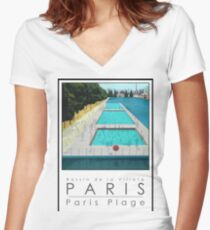 Lido Poster Paris Plage Women's Fitted V-Neck T-Shirt