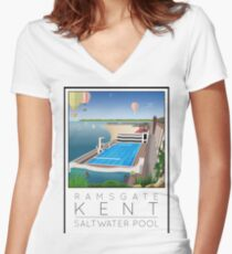 Lido Poster Ramsgate Women's Fitted V-Neck T-Shirt