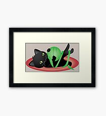 Kuro playing with green wool Framed Print