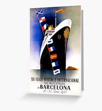 Vintage Barcelona Travel Poster Greeting Card