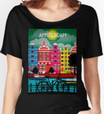 BICYCLE RIDING; In Amsterdam Holland Print Women's Relaxed Fit T-Shirt