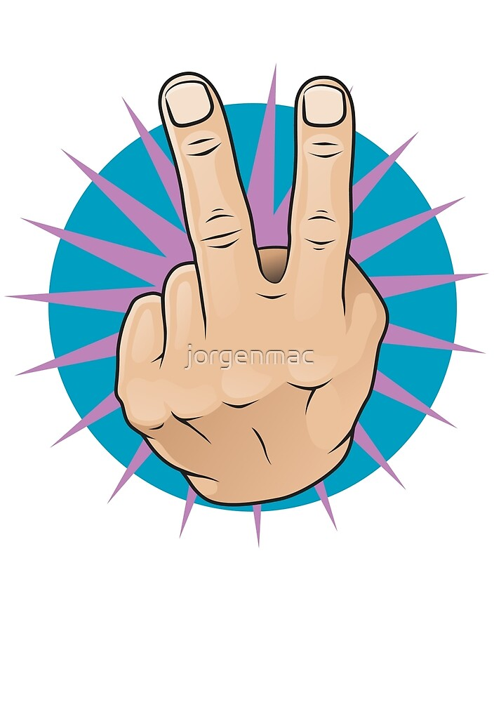 Vintage Pop Two Fingers Up Hand Sign. by jorgenmac