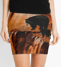 Bears Fishing on a Waterfall Mini Skirt