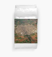 Sa Pobla Mallorca Spain Aerial of the town surrounded by fields. Duvet Cover