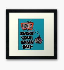 t.v. sucks your brain out mallowcolor Framed Print