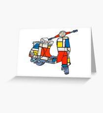 Vespa scooter, Piet Mondrian Greeting Card