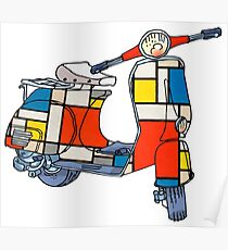 Vespa scooter, Piet Mondrian Poster