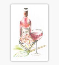 Vino with strawberries Sticker