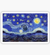Starry Night Inspiration Tardis Time Machine Sticker