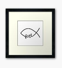 Christian Fish - Faith - Typography Quote Design Framed Print