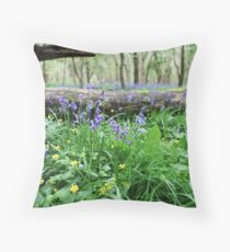 Bluebell wood in Cambridgeshire, England Throw Pillow