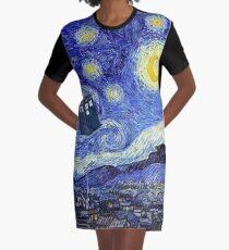 Starry Night Inspiration Tardis Time Machine Graphic T-Shirt Dress