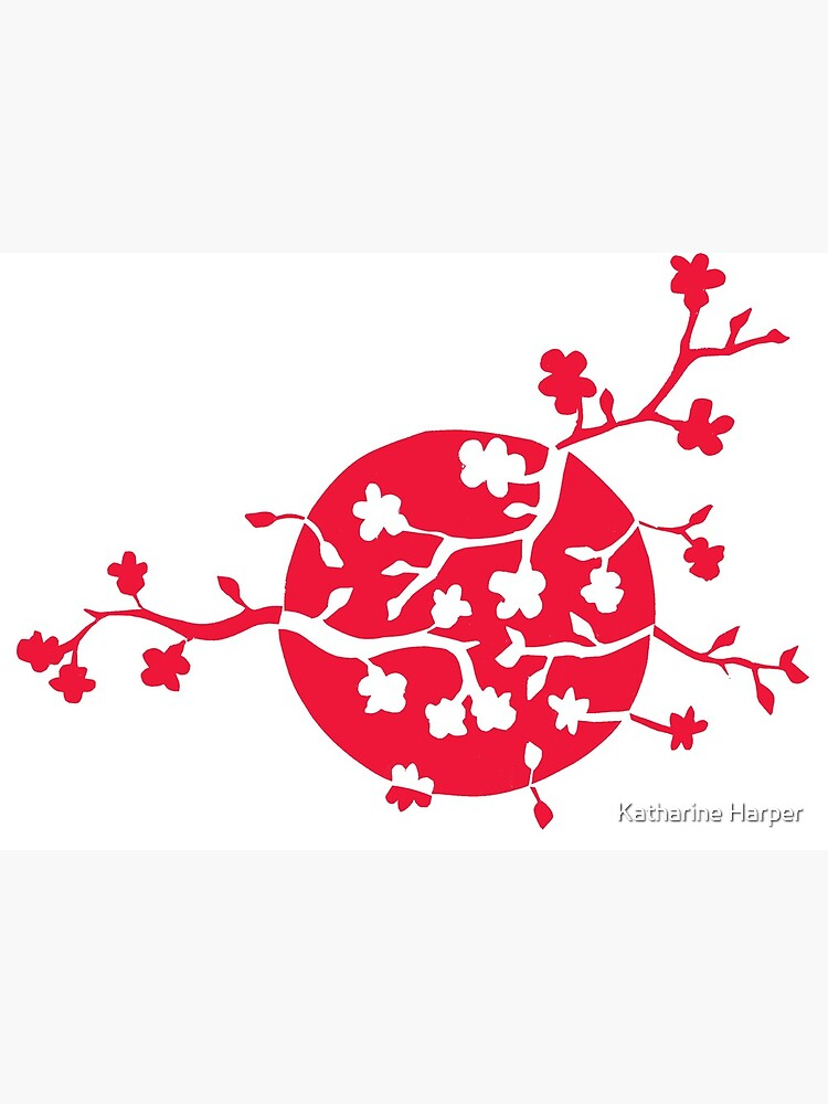 Japan flag and cherry blossom by Kcreations