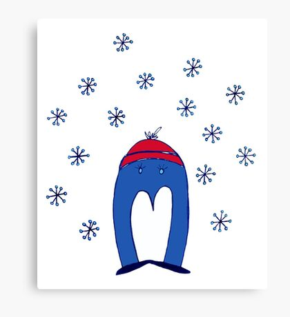 Blue Penguin in the Snow Canvas Print