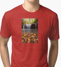 Fall Maple Leaves at Hidden Falls Tri-blend T-Shirt