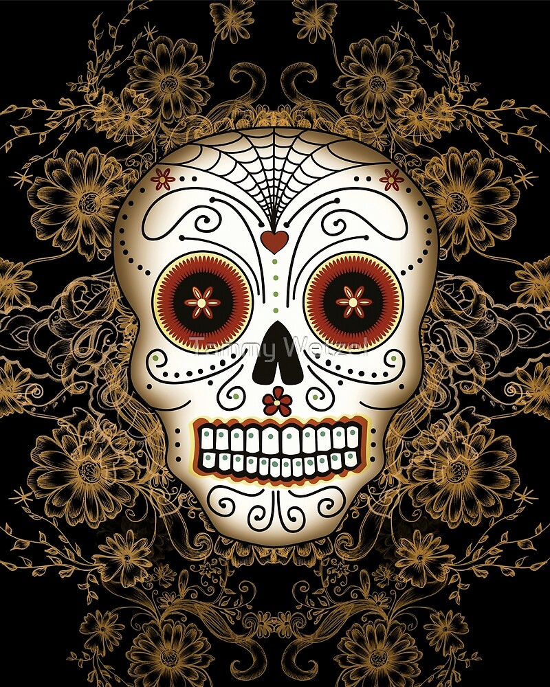 Vintage Sugar Skull by Tammy Wetzel