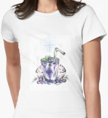 Blueberry Smoothie with Baked  Muffins Womens Fitted T-Shirt