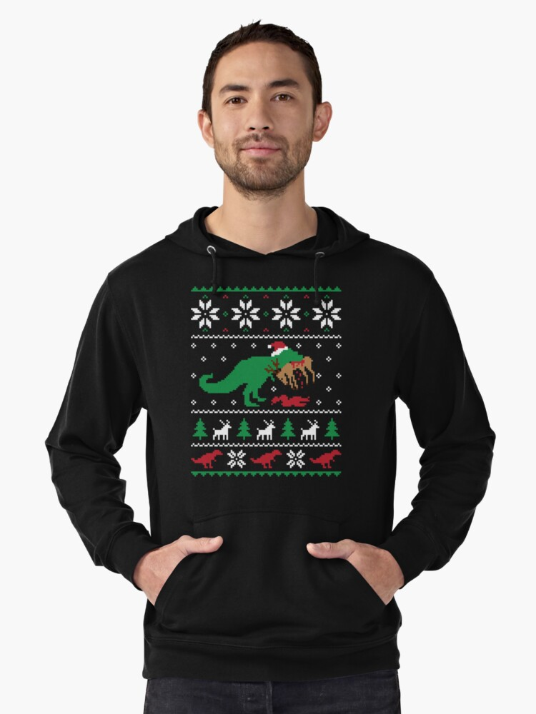 dinosaur ugly christmas sweater funny christmas gift lightweight hoodie by hudsonvibes redbubble - Dinosaur Christmas Sweater