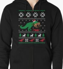 Dinosaur Ugly Christmas Sweater - Funny Christmas Gift Zipped Hoodie